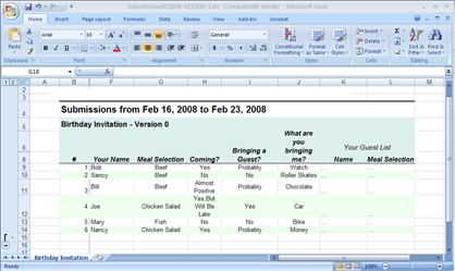 Survey form with excel download in confluence tutorial frevvo 62 above the table to view the submission results in excel the spreadsheet reflects the specific date range indicated by the two date controls pronofoot35fo Gallery