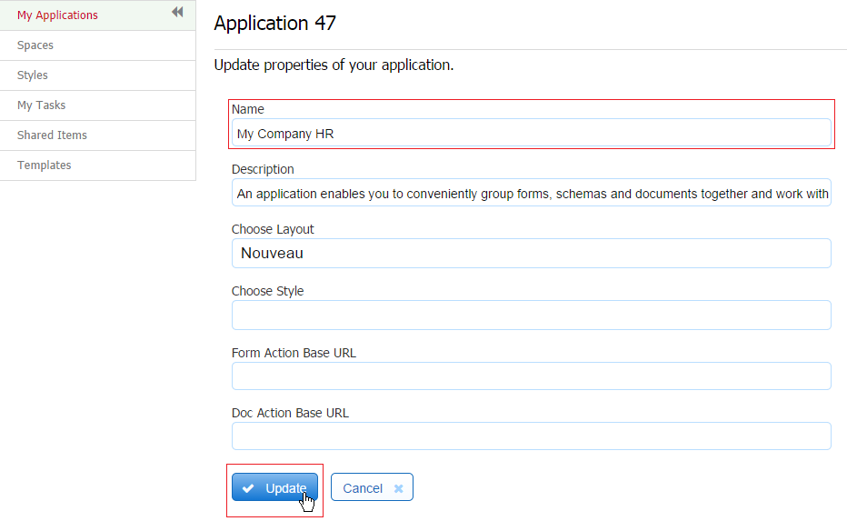 Getting Started with Forms frevvo 62 Confluence – Employee Update Form