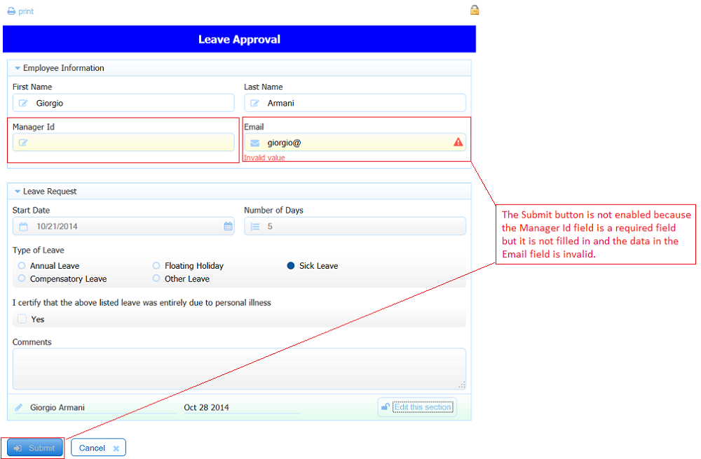 Getting Started with Forms frevvo 53 Confluence – Example of Leave Form