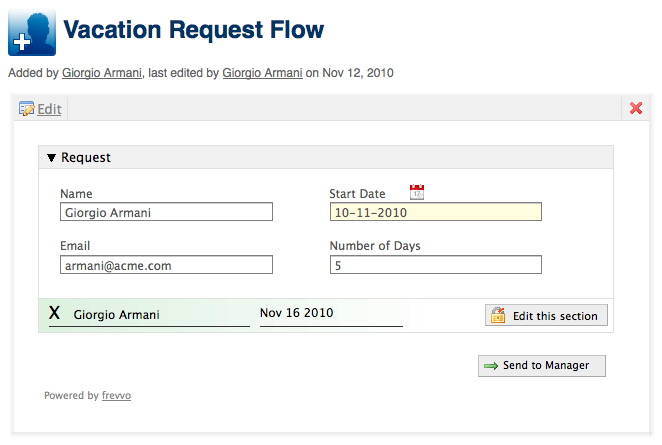 Workflows in Confluence frevvo 53 Confluence – Vacation Request Form